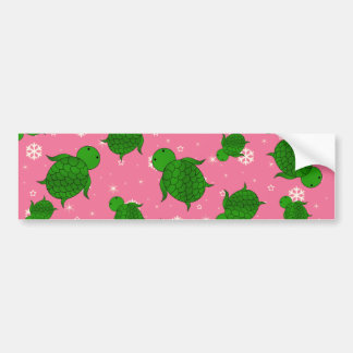 Cute green sea turtle christmas pink snowflakes bumper sticker