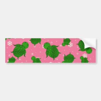 Cute green sea turtle christmas pink snowflakes bumper sticker