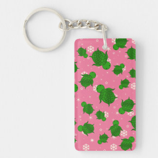 Cute green sea turtle christmas pink snowflakes Double-Sided rectangular acrylic key ring