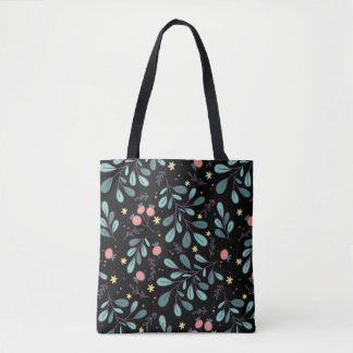 Cute green sketchy plant illustrated pattern chic tote bag