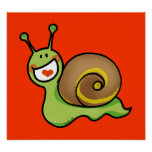 Cute green snail poster