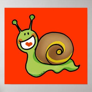 Cute green snail poster