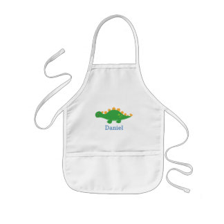 Cute Green Stegosaurus Dinosaur for Kids Kids Apron