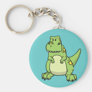 Cute Green T-Rex Basic Round Button Key Ring