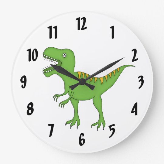 Cute Green T-Rex Dinosaur Kid's wall-clock/Medium Large