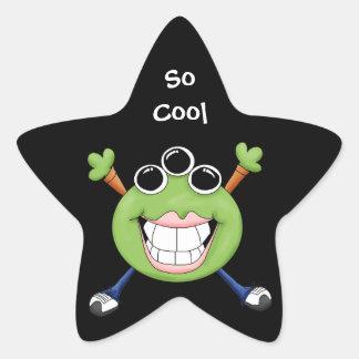 Cute Green Three Eye Alien Cartoon Character Star Sticker