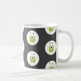 Cute green three eyed monster Halloween Basic White Mug