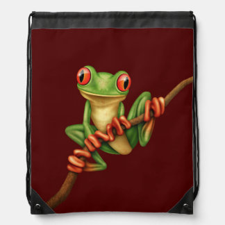 Cute Green Tree Frog on a Branch on Red Drawstring Bag