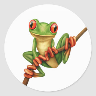Cute Green Tree Frog on a Branch on White Round Sticker