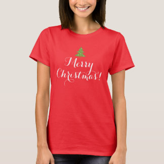 Cute Green Tree Script Merry Christmas T-Shirt