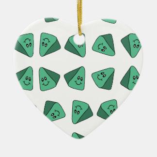 Cute Green Triangle Tile Ceramic Heart Decoration