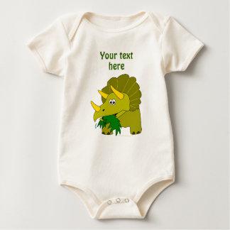 Cute Green Triceratops Cartoon Dinosaur Baby Bodysuit