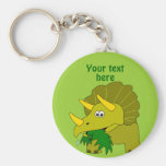 Cute Green Triceratops Cartoon Dinosaur Basic Round Button Key Ring