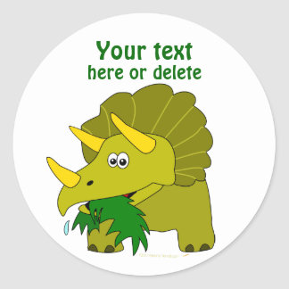 Cute Green Triceratops Cartoon Dinosaur Classic Round Sticker