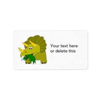 Cute Green Triceratops Cartoon Dinosaur Label