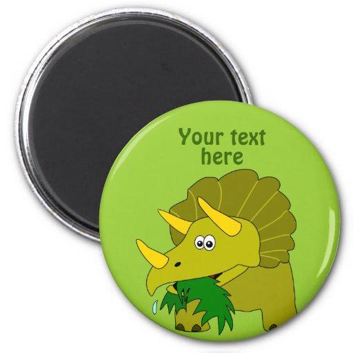 Cute Green Triceratops Cartoon Dinosaur Refrigerator Magnet