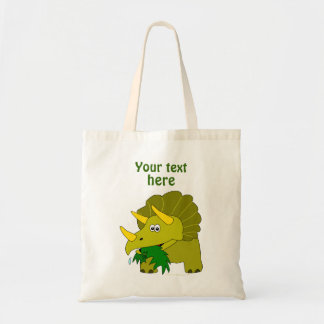 Cute Green Triceratops Cartoon Dinosaur Tote Bag