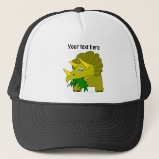 Cute Green Triceratops Cartoon Dinosaur Trucker Hat