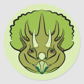 Cute Green Triceratops Dinosaur Classic Round Sticker
