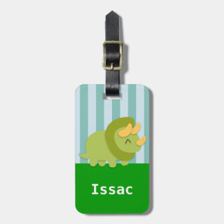 Cute Green Triceratops Dinosaur for kids Bag Tags