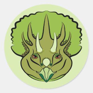 Cute Green Triceratops Dinosaur Round Sticker