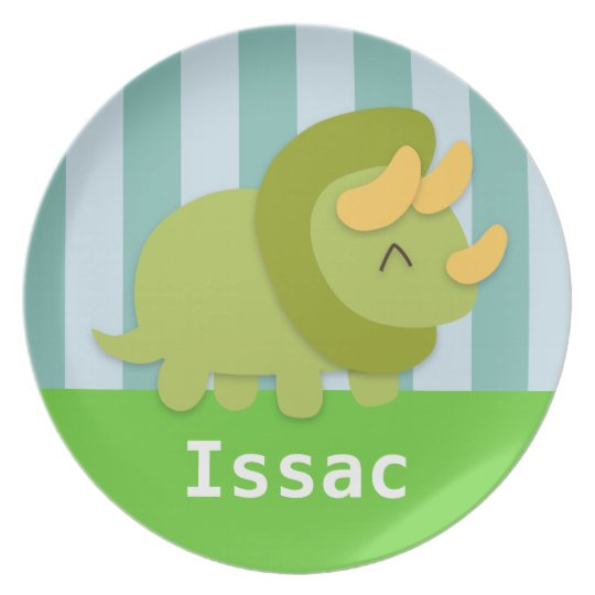 Cute Green Triceratops Kids Personalised Plate