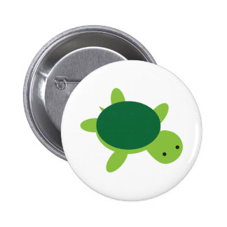 Cute Green Turtle Button