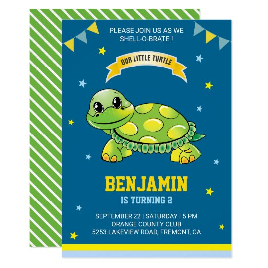 Cute Green Turtle Kids Birthday Party Invitation