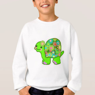 Cute green turtle with retro flower shell - sweatshirt