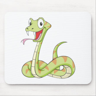 Cute Green Viper Snake Cartoon Shirt Mouse Pad