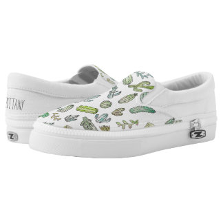Cute Green Watercolor Paint Summer Cactus Pattern Slip On Shoes