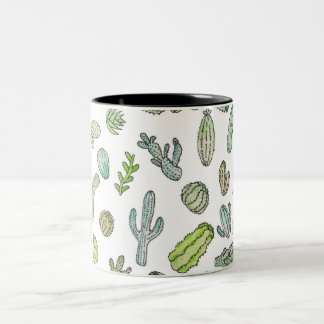 Cute Green Watercolor Paint Summer Cactus Pattern Two-Tone Coffee Mug