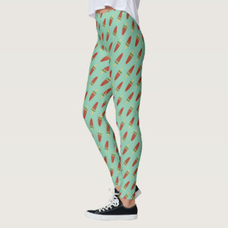 Cute Green Watermelon Ice Pop Pattern Leggings