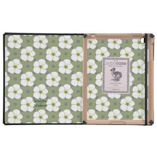 Cute Green & White Floral DODO iPad Case