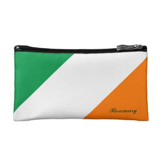 Cute Green White Orange Stripes Cosmetic Bag
