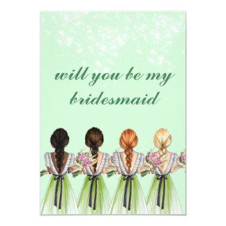 cute green will you be my bridesmaid Invitation