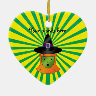 Cute green witch christmas ornament