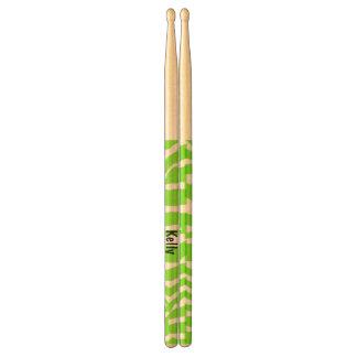 Cute Green Zebra Drum Sticks