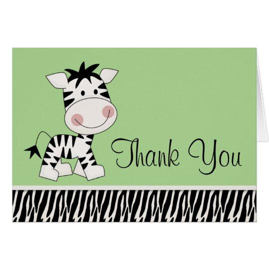 Cute Green Zebra Thank You Cards