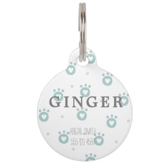 Cute GreenPet Paws with Hearts Round Large Pet Tag