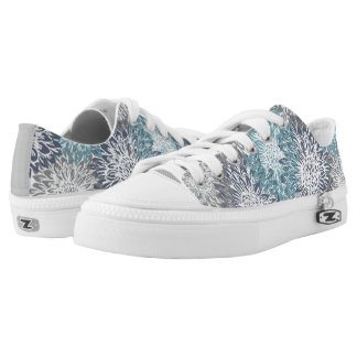 Cute, Grey and Blue Flower Print Printed Shoes