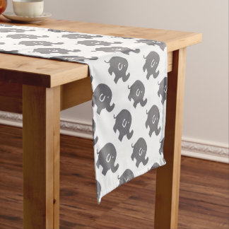 Cute Grey And White Elephants Pattern Short Table Runner