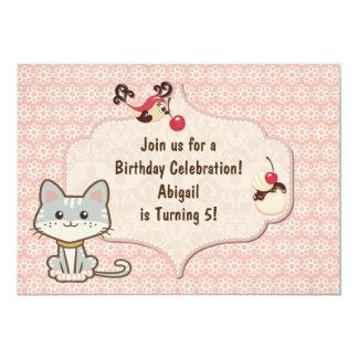 Cute Grey and White Kitty Cat Birthday Invitation