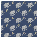 Cute Grey Baby Elephant with Moon and Star on Blue Fabric