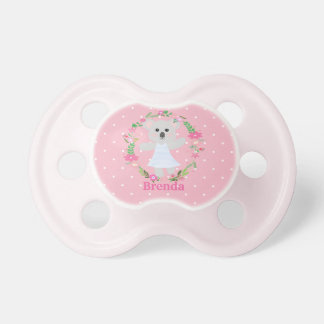 Cute Grey Baby Koala Bear pink white polkadots Dummy