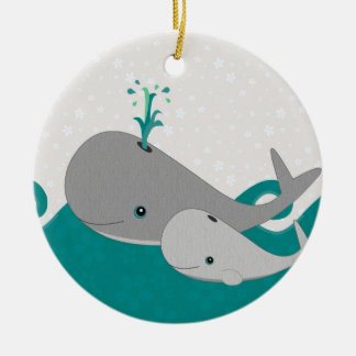 Cute Grey Baby Whale on the Waves Cartoon Christmas Ornament