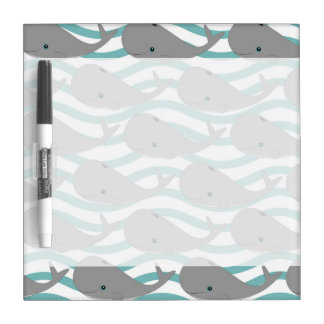 Cute Grey Baby Whale on the Waves Cartoon Dry Erase Board
