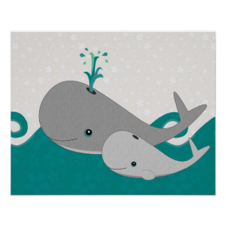 Cute Grey Baby Whale on the Waves Cartoon Poster