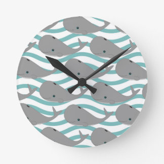 Cute Grey Baby Whale on the Waves Cartoon Round Clock