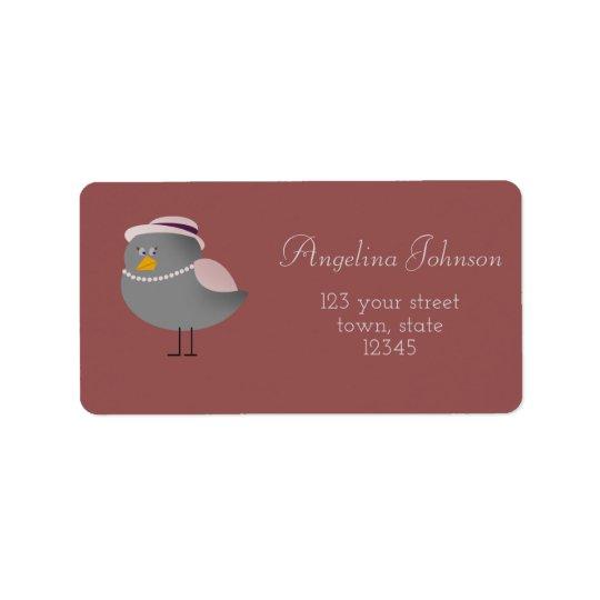 Cute Grey Bird Cartoon Adress Label Address Label
